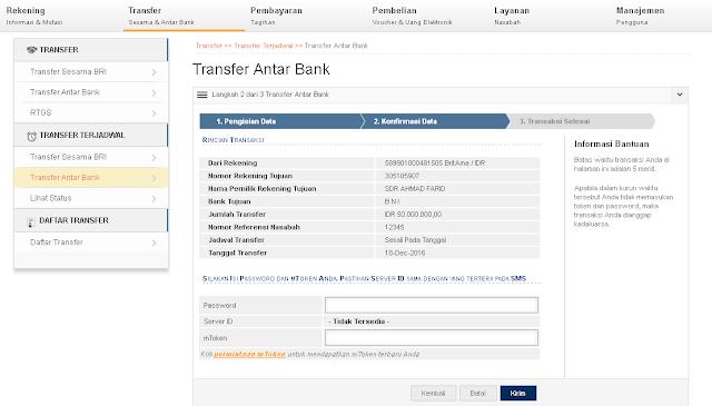 transfer uang bri ke bni lewat Ibanking BRI