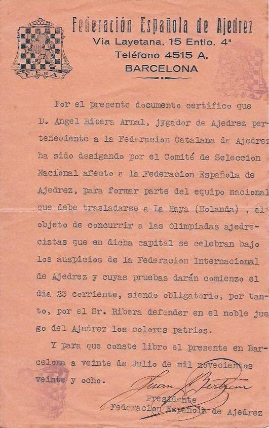 Carta del Presidente de la Federación Española de Ajedrez en 1928