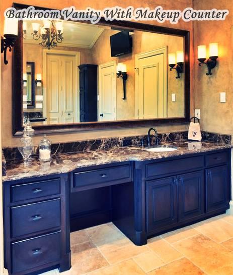 Bathroom Vanity With Makeup Counter Black Wooden