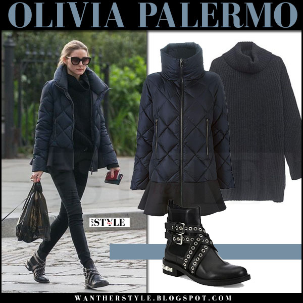 Olivia Palermo in navy blue quilted moncler vouglans jacket, black jeans and boots miu miu