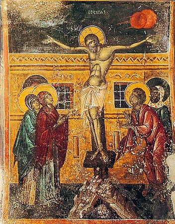 H Σταύρωση. Άγιος Γεώργιος στην A. Σύμη Hρακλείου,   έργο του Mανουήλ Φωκά (1453)