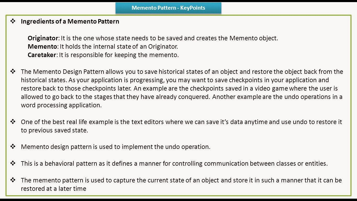 Memento Pattern New Decorating Ideas