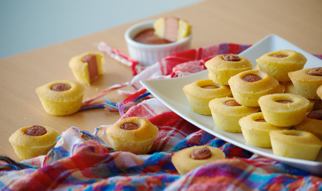 Cornbread Dog Muffins ketchup rodeo carnival food