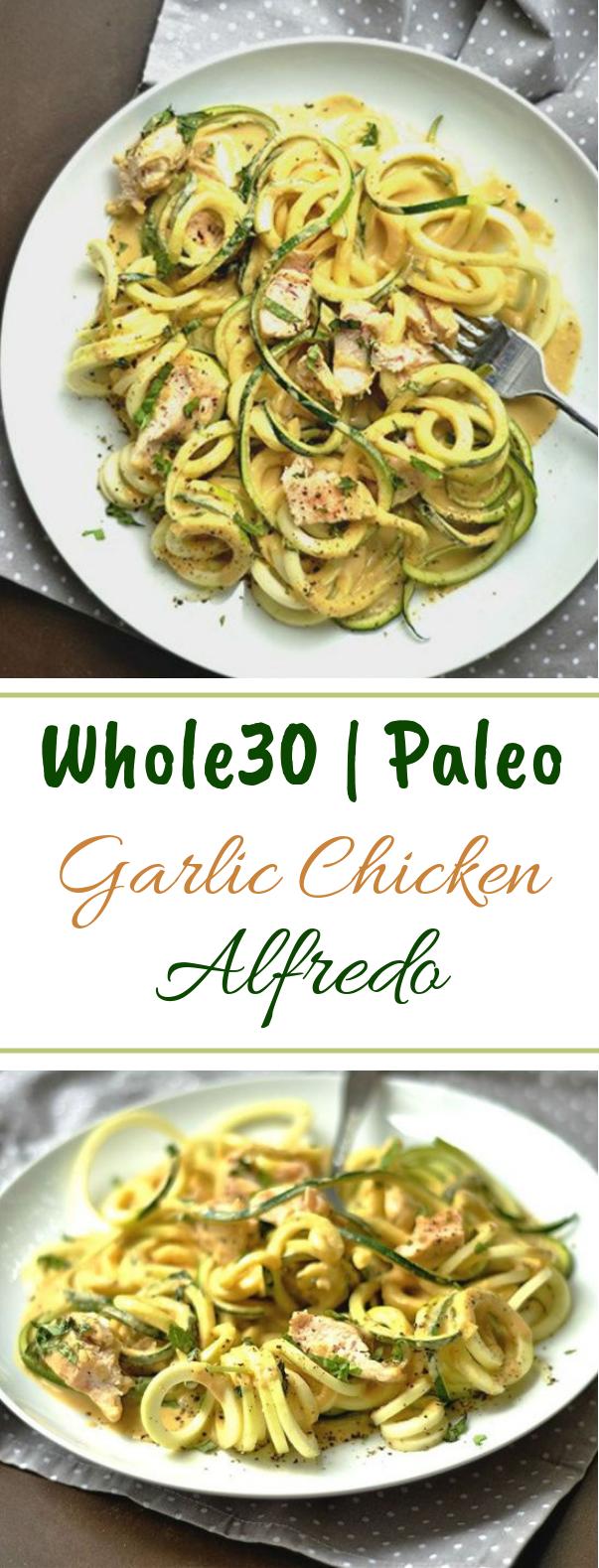 Paleo Garlic Chicken Alfredo #healthy #lowcarb