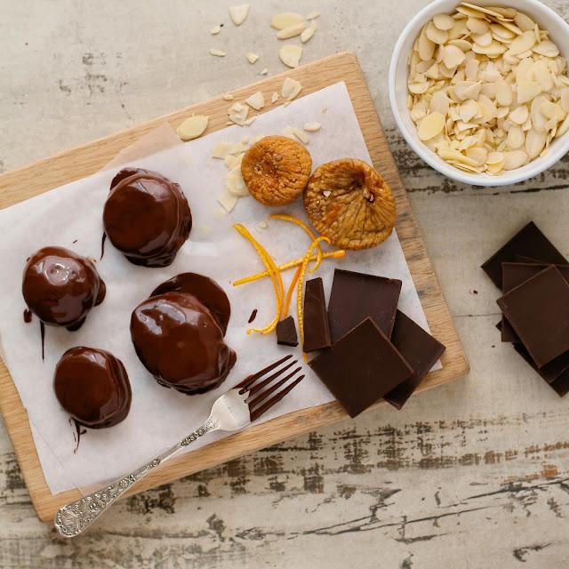 Chocolate, almond and orange figs.