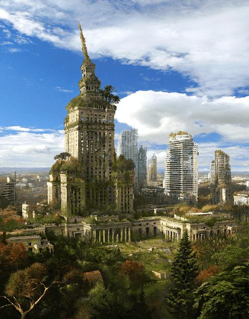 ciudad edificios con plantas y hierba