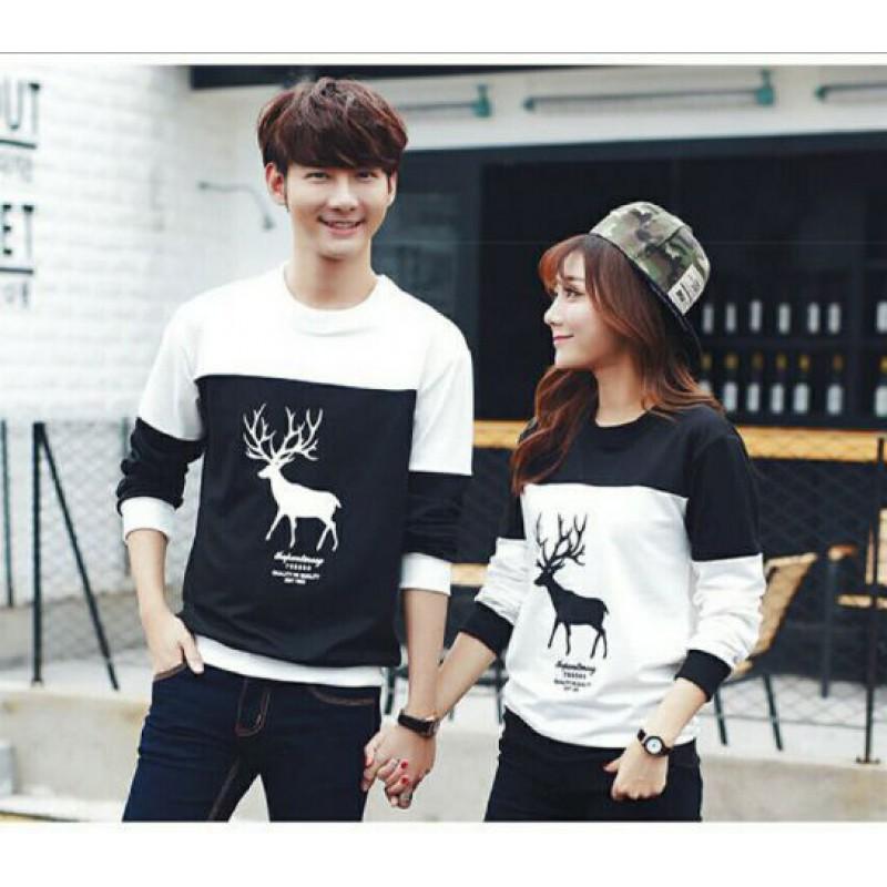 Jual Online Sweater Moose White Black Couple Murah Jakarta Bahan Babytery Terbaru