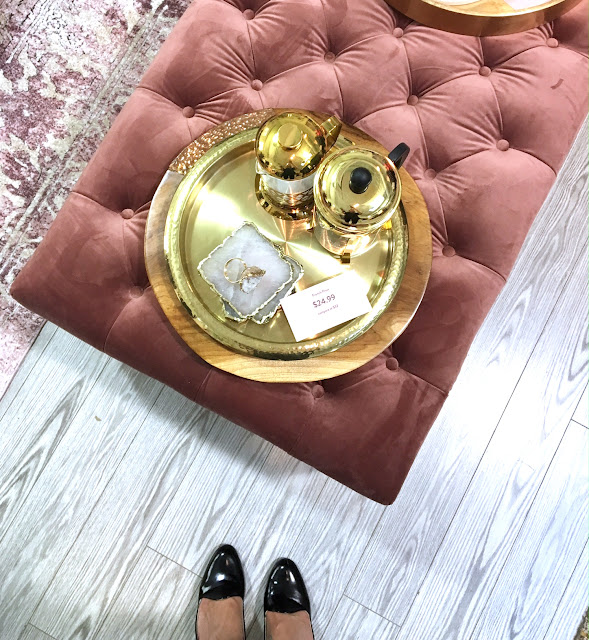 Homesense - the art of entertaining - harlow and thistle - pink tufted bench