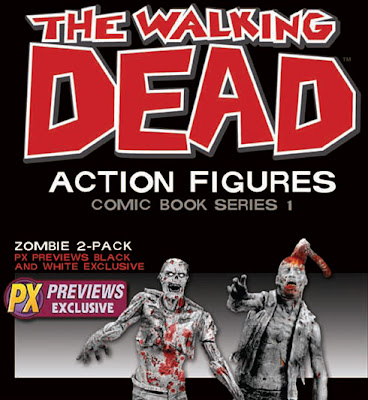 The Walking Dead Comic Book Series 1 - Previews Exclusive Black & White Zombie Action Figure 2 Pack (Zombie Lurker & Zombie Roamer)