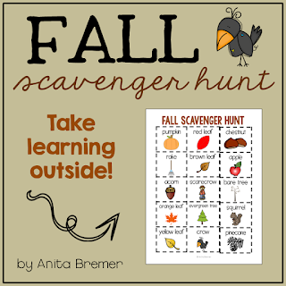 FREE fall outdoor scavenger hunt- students look for signs of fall...take learning outside!