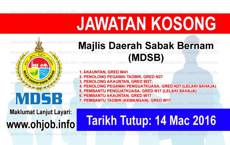 Jawatan Kerja Kosong Majlis Daerah Sabak Bernam (MDSB) logo www.ohjob.info mac 2016