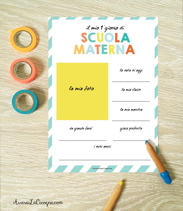 scheda da compilare il primo giorno di scuola materna
