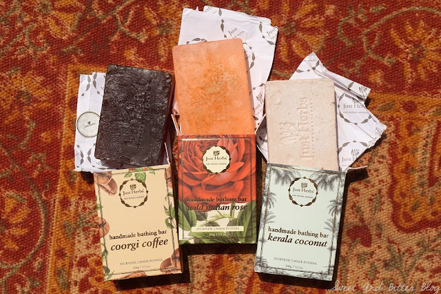 Just Herbs Kerala Coconut, Coorgi Coffee, Wild Indian Rose Handmade Soap Bar