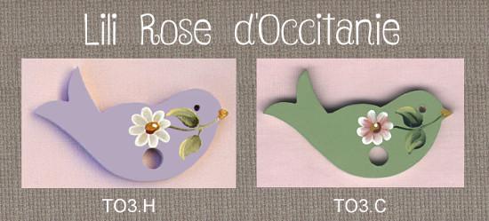 """Tri-fils bois peint """"oiseau"""" vert ou mauve + marguerite. Broderie et point de croix"""