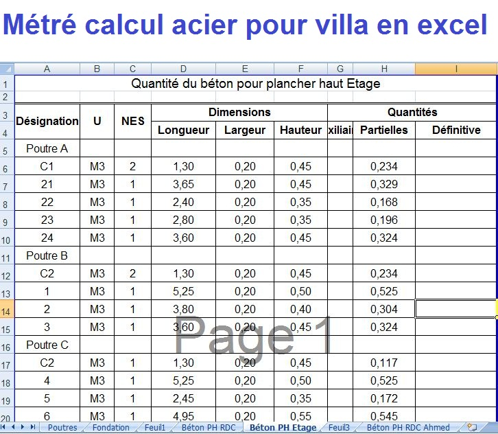 m tr calcul acier pour villa en feuille excel cours. Black Bedroom Furniture Sets. Home Design Ideas