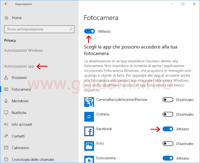 Windows 10 schermata Impostazioni Privacy Autorizzazioni app