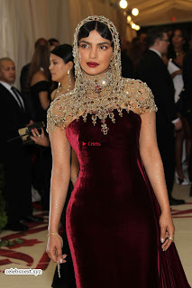 Priyanka Chopra in Maroon Velvet Gown at 2018 MET Costume Insute Gala ~ Exclusive 04
