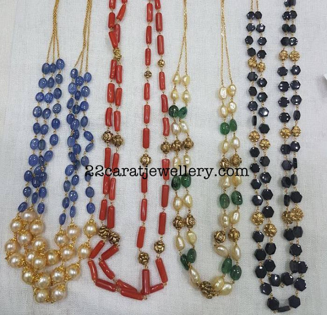 Coral and Blue Sapphire Beads Sets