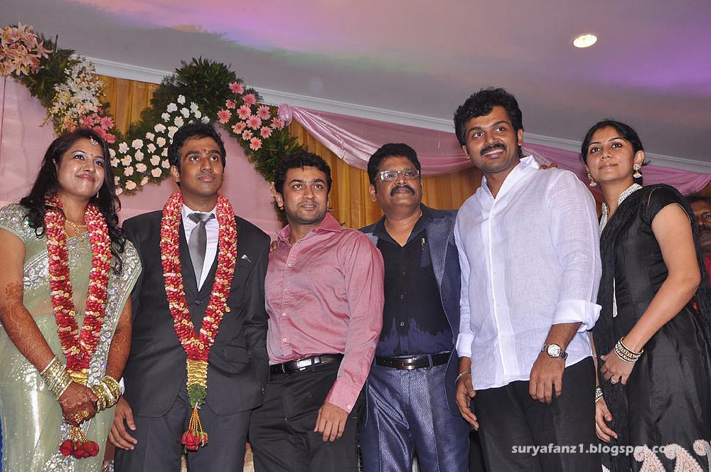 Suriya(surya) and Kathi at KS Ravikumar Daughter Wedding ...  Actor Karthi Daughter Umayaal Photos