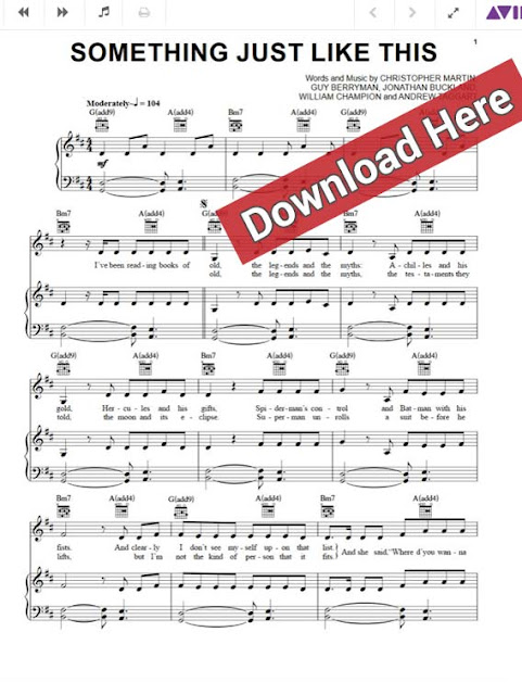 coldplay, the chainsmokers, something just like this, sheet music, piano notes, chore, keyboard, download pdf, klavier noten
