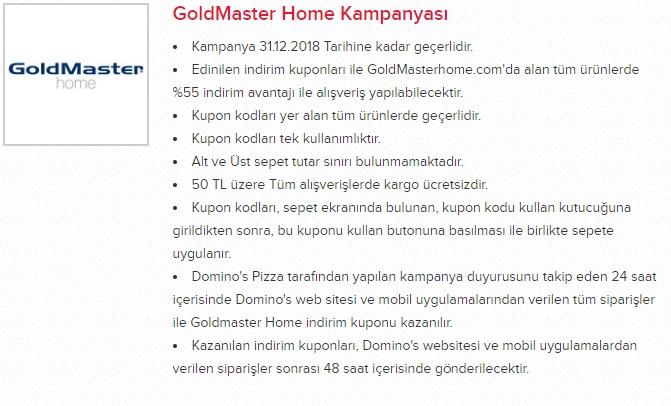 dominos pizza goldmaster kampanya promosyon