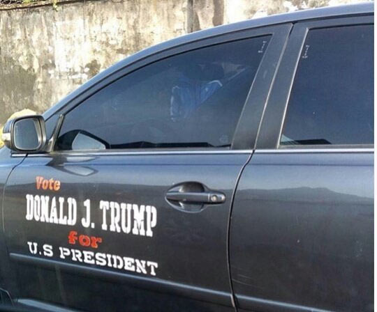 Check out the Donald Trump campaign car that was spotted in Calabar, Southern Nigeria today
