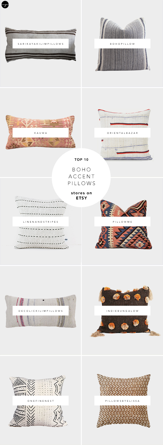 Kilim pillows, mudcloth pillows, ikat pillows, hmong pillows, boho vintage pillows, best sources for handmade pillows on Etsy