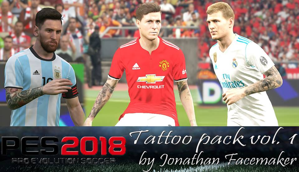 Tattoo pack Vol. 1 PES 2018 by Jonathan Facemaker