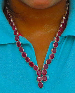 genuine Myanmar Ruby Necklace with silver setting