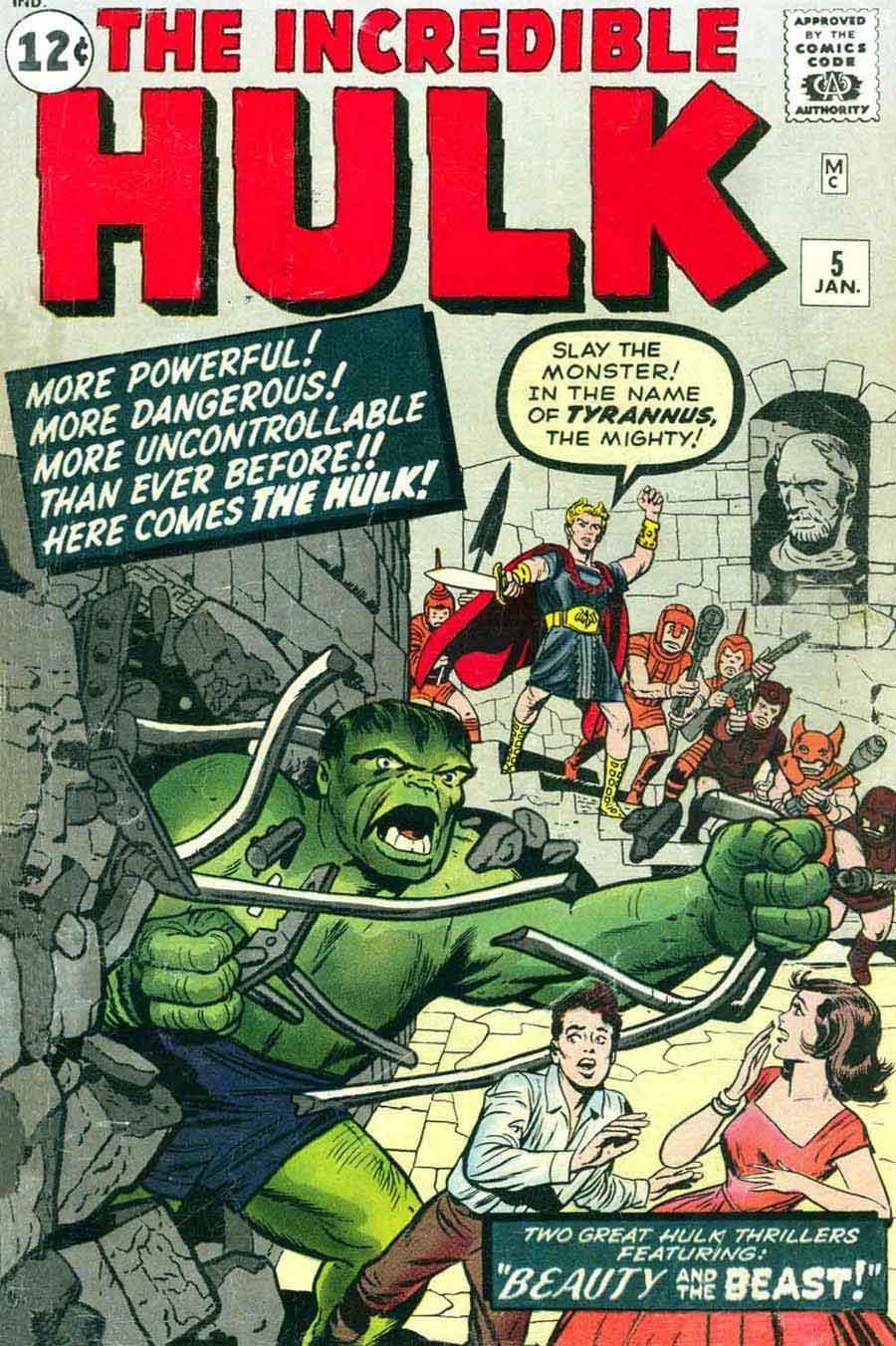 Incredible Hulk v1 #5 marvel comic book cover art by Jack Kirby
