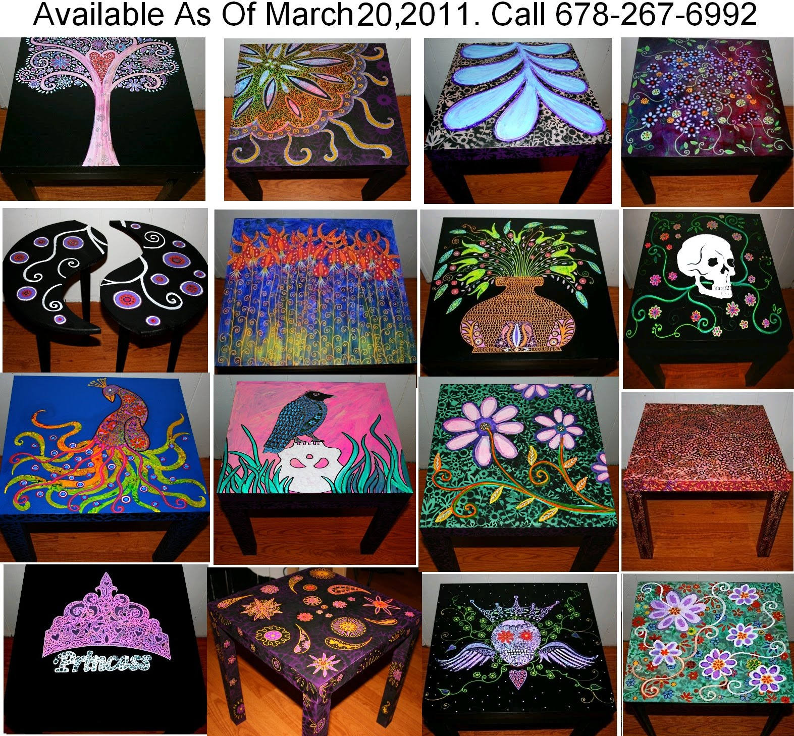Hand Painted Coffee Tables Nightstands All One Of A Kind Free Shipping