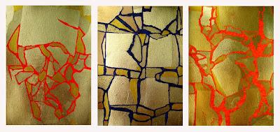 Zeitgenössische Kunst - Aus der Serie >Gold über Acryl<  Acryl und Blattgold auf Karton, je DIN A 4