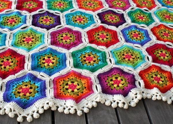 crochet hexagonal motif blanket - pom pom edging