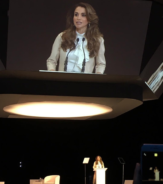 Queen Rania of Jordan attended the opening of the Global Women's Forum