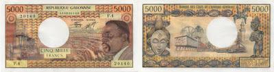 Gabón: Billete de 5000 francos del África Central