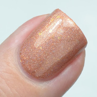 peach holographic nail polish