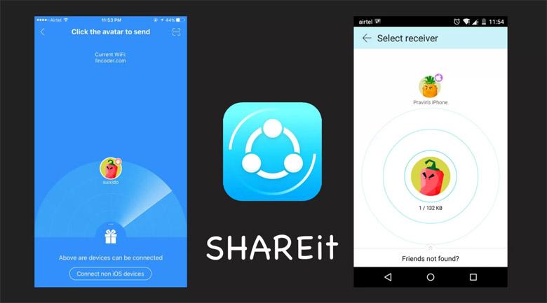 mengirim file di iPhone dengan SHAREit