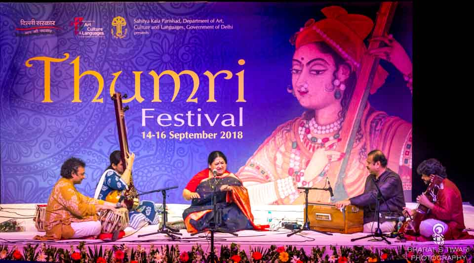 Shubha Mudgal on the stage were Dr. Anish Pradhan on tabla,  Sudhir Naik on Harmonium, Pooja Vazirani on Tanapura, and Delhi's very own mestro Murad Ali Khan on Sarangi