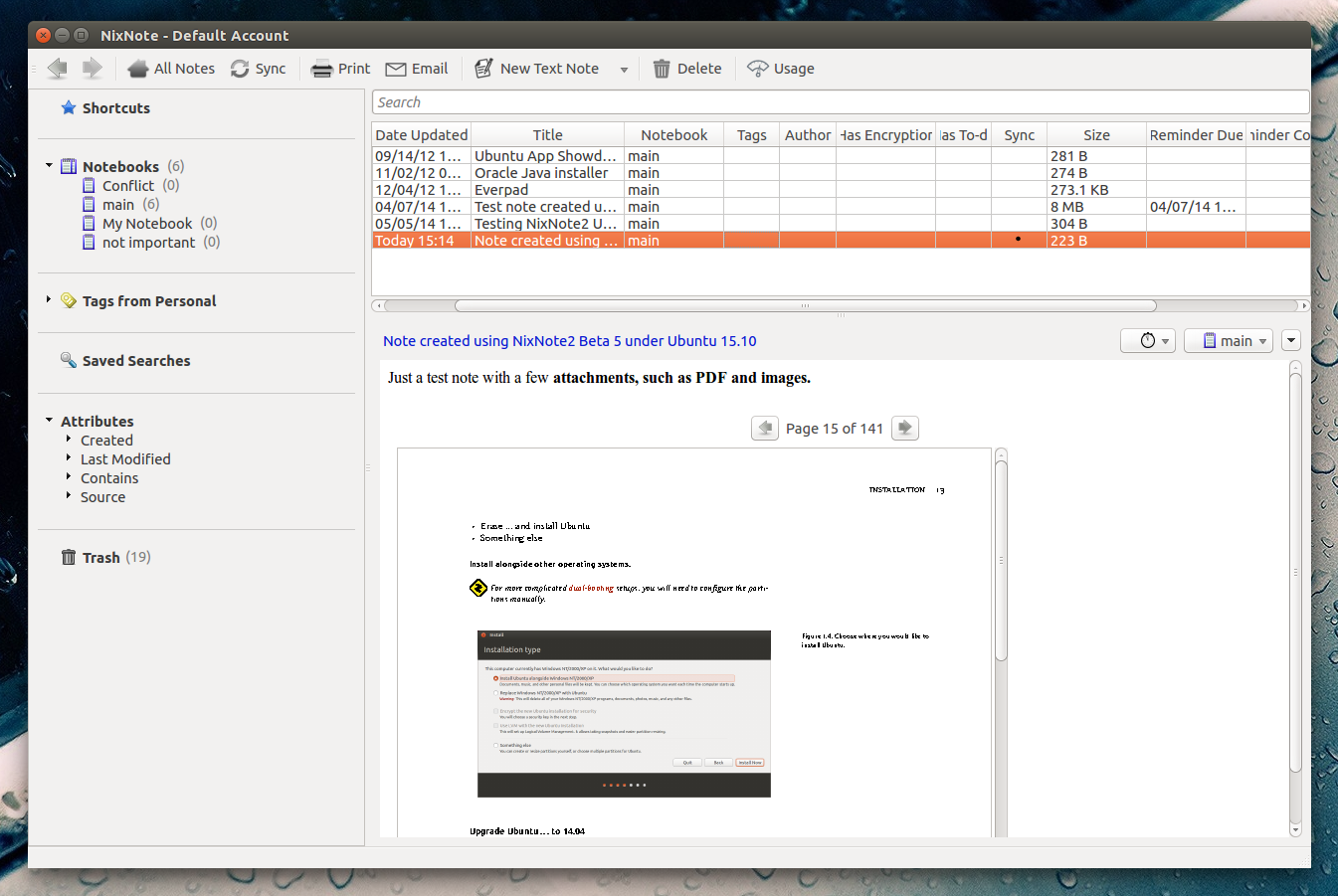 Evernote Linux Client `NixNote` 2 Beta 5 Available For