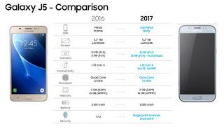 Perbandingan Galaxy J5 (2016) vs J5 (2017)