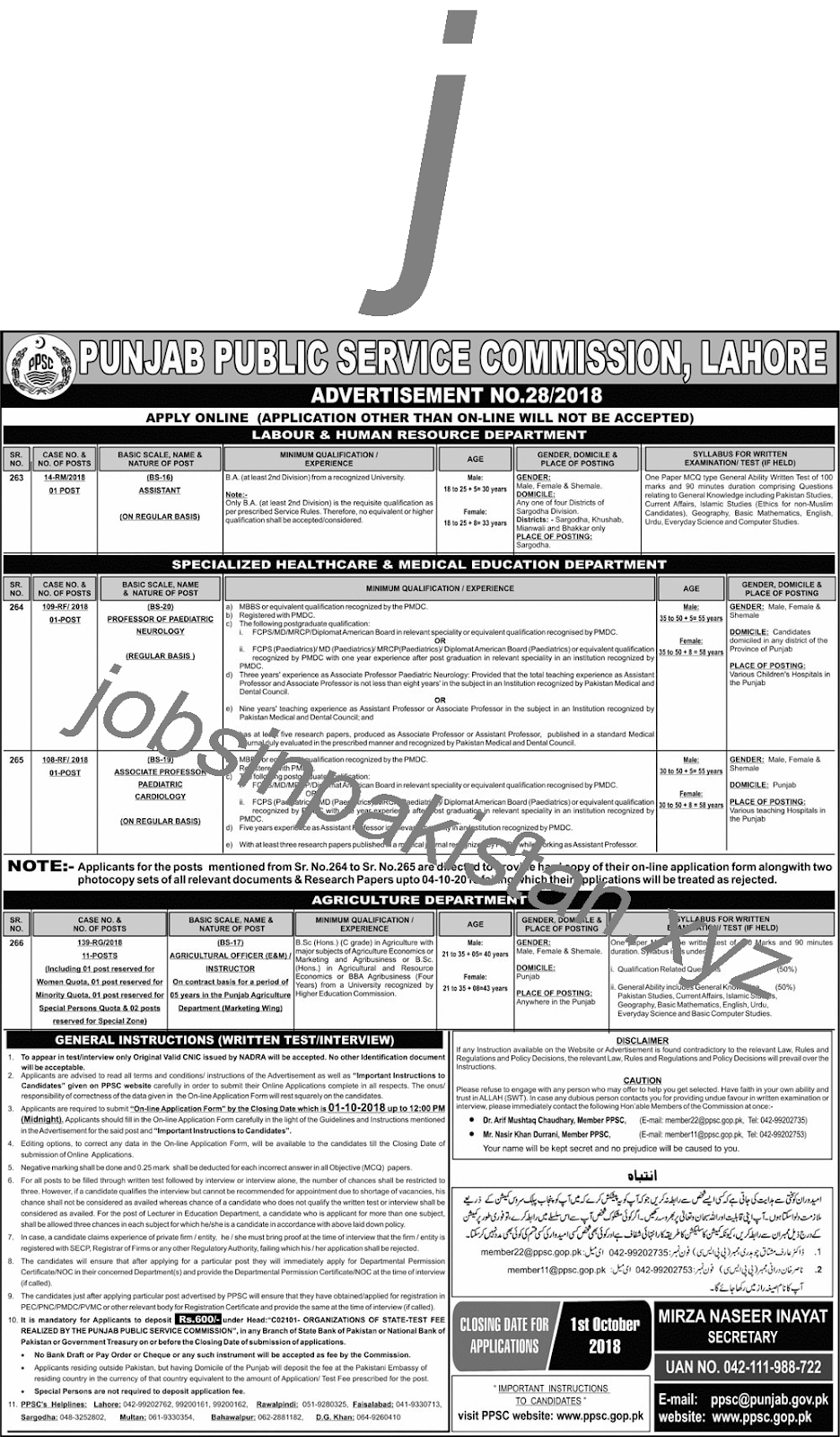 PPSC Latest Jobs Advertisement No 28/2018