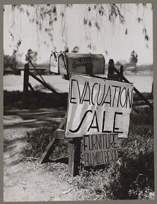 The evacuation of Japanese-Americans from West Coast areas under U.S. Army war emergency order Japanese try to sell their belongings. Photographer: Russell Lee. Library of Congress.