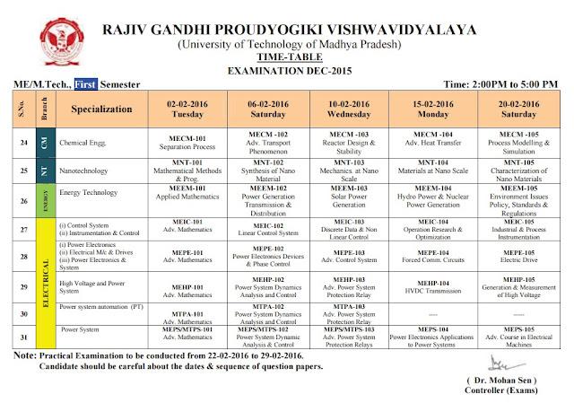 RGPV M Tech/ME 1st Semester Examination Time Table 2016