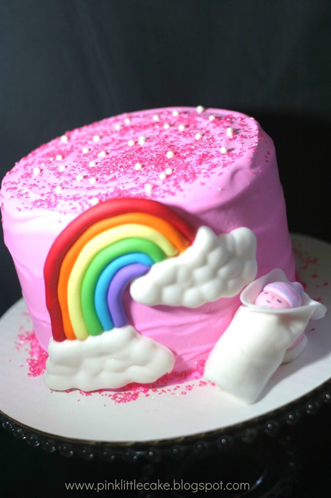 Pink Little Cake Baby At The End Of The Rainbow Cake