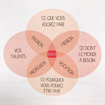 la roue de l'ikigai. la jonction de 4 critères à identifier