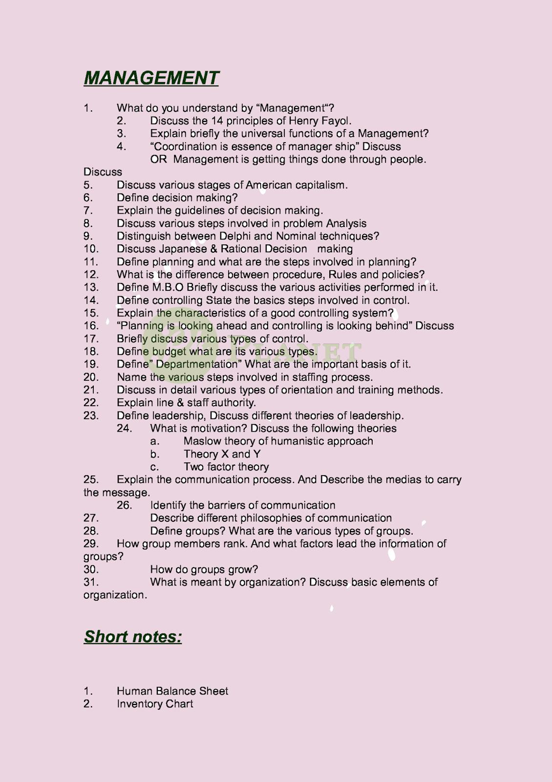 Management B.Com Part 2 Guess Paper