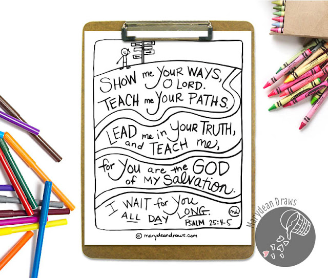 Printable Bible Verse coloring page from Marydean Draws