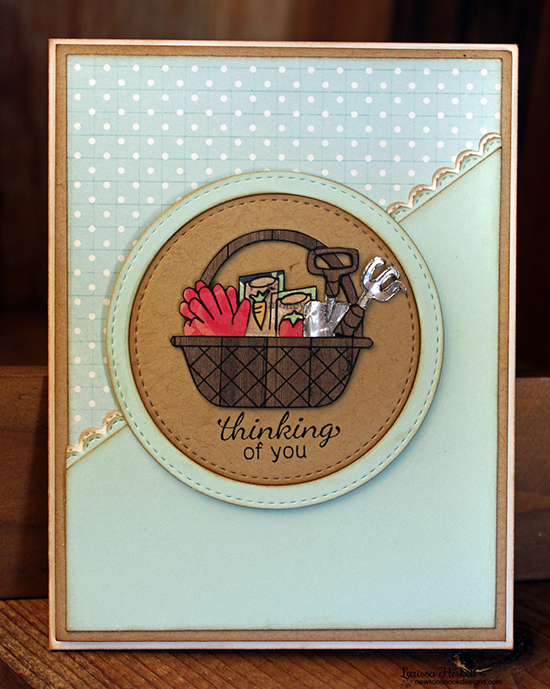 Garden card by Larissa using the Basket of Wishes Stamp Set by Newton's Nook Designs