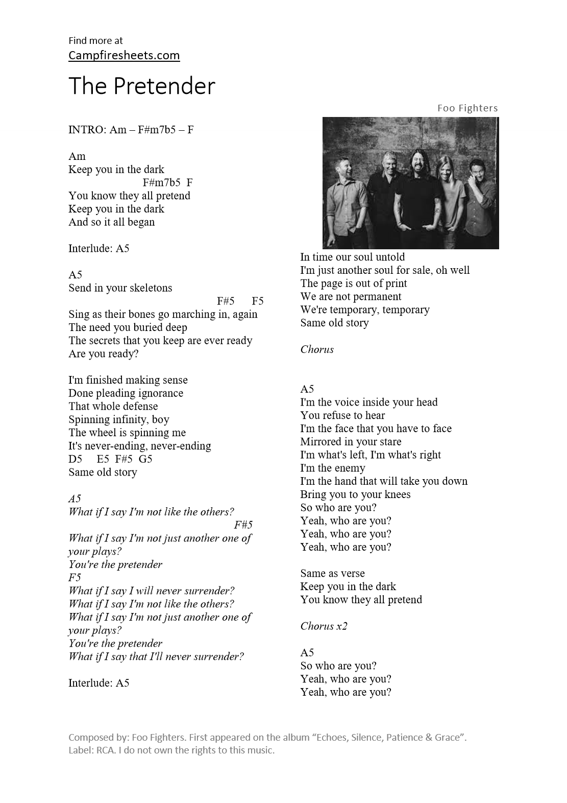 The pretender foo fighters 1 page sheet music chords and lyrics hexwebz Images