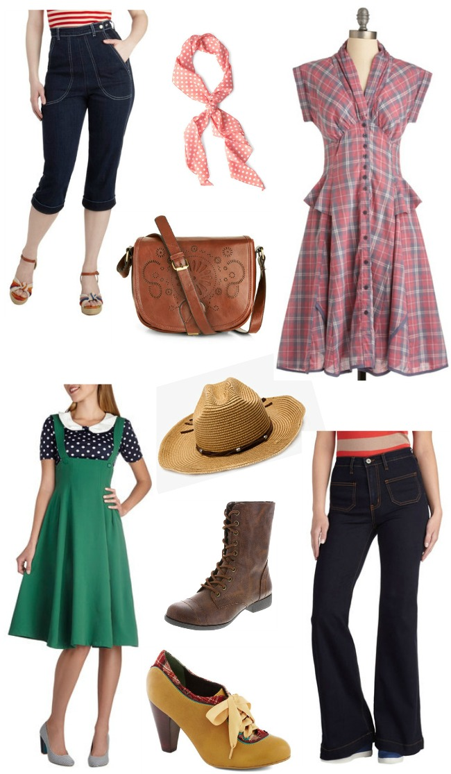 vintage style country fashion high waist pants, plaid dress